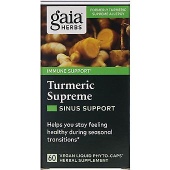 Gaia Herbs, Curcuma Supreme, Sinus Support, 60 Vegan Liquid Phyto-Caps