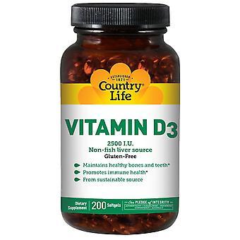 Country Life, Vitamine D3, 2500 I.U., 200 Softgels