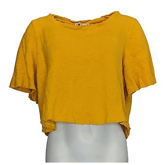 Rachel Hollis Ltd Regular Blouse Crepe W/ Flutter Sleeve Yellow A354063