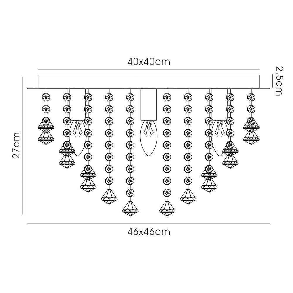 Inspired Deco - Acton - Flush Ceiling 5 Light E14, 460mm Square, Polished Chrome, Prism Crystal
