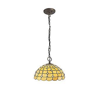 Luminosa Belysning - 3 Lys Downlighter Loft Vedhæng E27 med 50cm Tiffany Shade, Beige, Klar Crystal, Aged Antik Messing