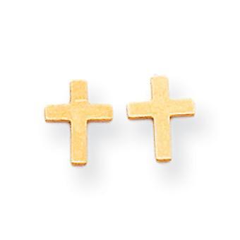 14k keltainen kulta kiillotettu uskonnollinen usko Cross Post korvakorut toimenpiteet 7x6mm korut lahjat naisille