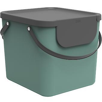 Système de tri des déchets Rotho Albula 40l pour la cuisine, plastique (PP) sans BPA, vert foncé/anthracite, 40l (40.0 x 35.8 x 34.0 cm)