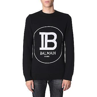 Balmain Sh03226k168eab Men's Black Wool Sweater