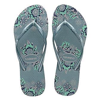 Havaianas Slim Organic Flip Flops - Silver Blue