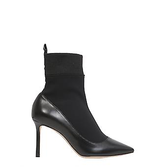 Jimmy Choo Brandon85asxblack Women's Black Leather Ankle Boots