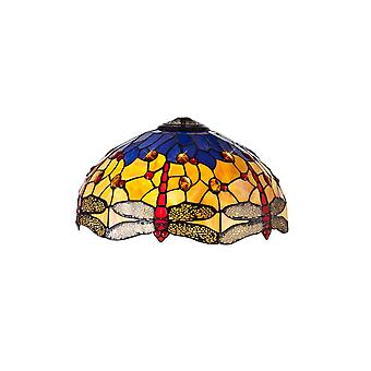 Morgan Tiffany 40cm Shade Only Suitable For Pendant/ceiling/table Lamp, Blue/orange/crystal
