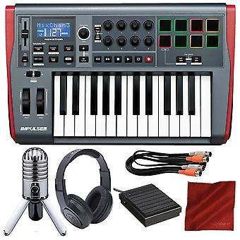 Novation impulse 25 usb-midi keyboard with samson meteor mic usb microphone + closed-back headphones + sustain pedal + deluxe bundle
