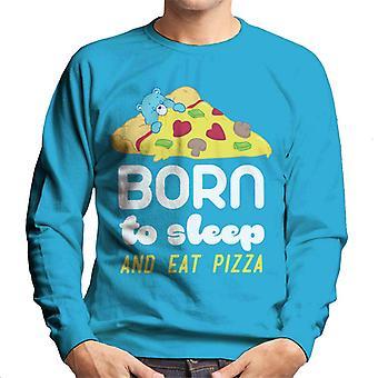 Hoito karhut nukkumaan syntynyt karhu syntynyt nukkumaan ja syömään pizzaa Men's collegepaita