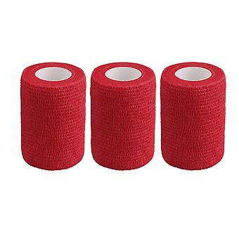 3Pieces Breathable Cohesive Bandage Adherent Tape Width 7.4cm Red