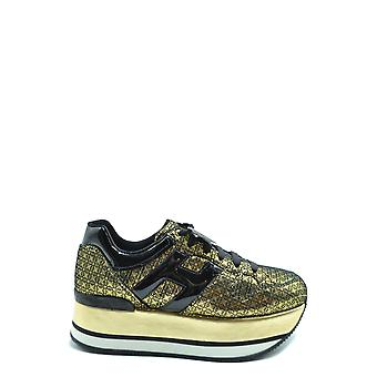 Hogan Ezbc030244 Women's Gold Leather Sneakers