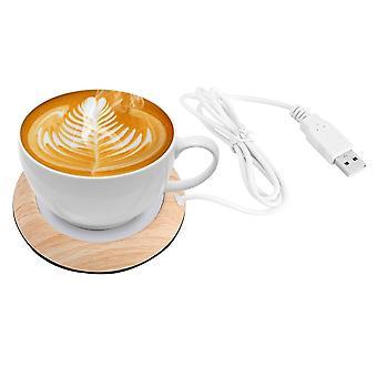 Wood Grain Cup Warmer Heat Beverage Mug Mat Keep Drink Heater