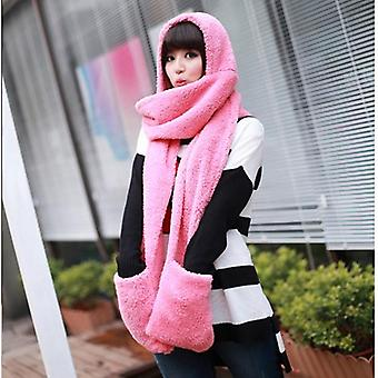 Winter Warm Women Hoodie Gloves Pocket Earflap Hat Long Scarf Shawl Snood Wraps