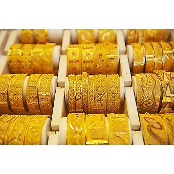 Gold Bangles For Sale In Gold Souk Dubai United Arab Emirates Poster Print (8 x 10)