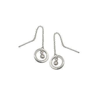 Thread Earrings Ring+zirconia Silver 925