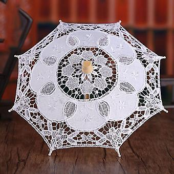 Women Wedding Bridal Parasol Umbrella Hollow Out Embroidery Lace Solid Romantic