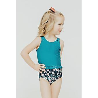 Janela Bay Dark Teal Little Ruffle Swim Top