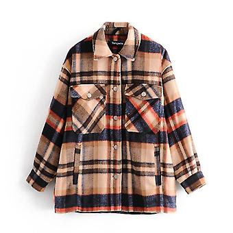 Women Green Plaid Pattern Thick Coats Jacket Loose Long Sleeves Autumn/winter