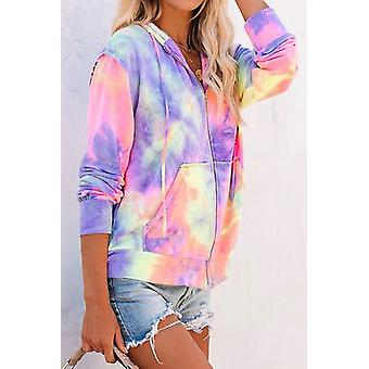 Women Tie-dye Pocket Zip Up Hoodie