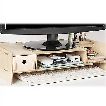 Wooden Computer Monitor Stand Holder Laptop Desk And Organizer Rack Storage