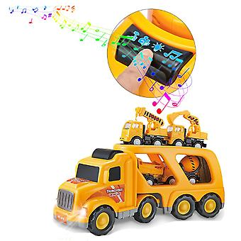 Construction Vehicles Transport Truck Carrier Toy - 5 In 1