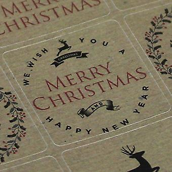 Kraft Brown Vintage Christmas Reindeer Sticker Sheet - Advent x 35 Craft Xmas