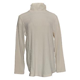 Susan Graver Women's Top Ribbed Sweater Knit Turtleneck Tunic Ivoire A384244