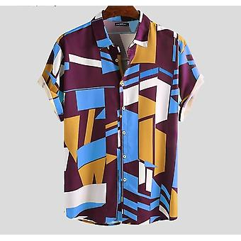 Geometrisk tryck kort ärm skjorta