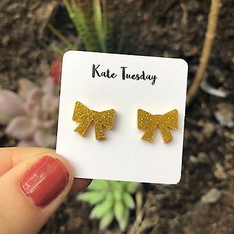 Kultainen rusetti akryyli korvakorut