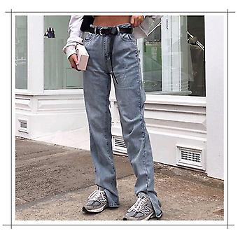 High Waist Split Jeans With Pockets