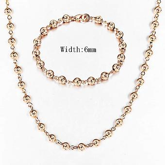 Rose Gold Bracelet Necklace Set, Double Cuban Weaving Bismark Chain Jewelry