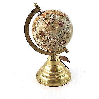 Globe metall fot gull 22 cm