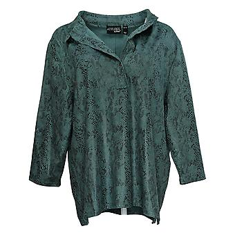 Women With Control Women's Top Regular Printed Faux Suede Green A390136