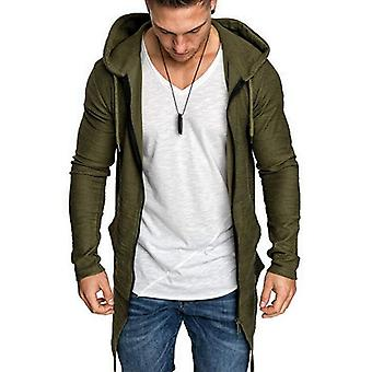 Men's Long Cardigan Jacket, Hooded Zipper, Slim Fit, Open Front, Longline With