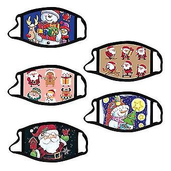 5pcs Christmas Mask For Kids Christmas Printed Face Masks