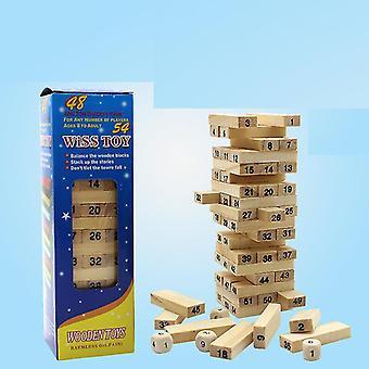 Wooden building block set, digital stacked high building block, children's toy building block set