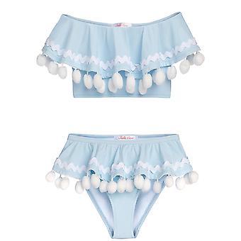 blå drapert bikini med hvit pom poms