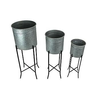 Set of 3 Galvanized Metal Round Tub Decorative Planters On Stands