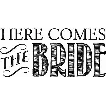 Hampton Art Wood Mounted Stamp - Comes The Bride