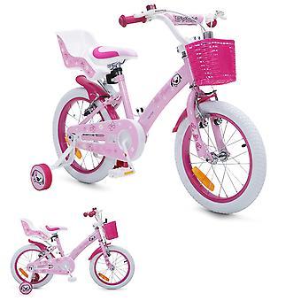 Byox barn cykel 16 tums valp rosa, stödhjul, docka sits, justerbar