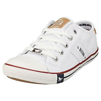 Mustang Lace Up Low Top Womens Casual Trainers em Branco