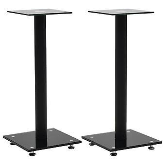 vidaXL speaker stand column design 2 pcs. tempered glass black