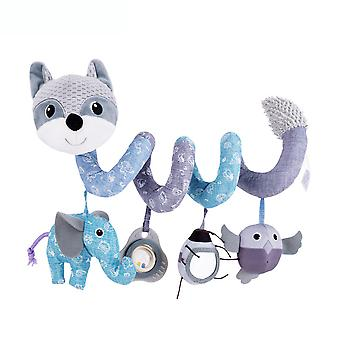 Cartoon Fox Baby Spiral Toy Cute Stroller Hanging Toy With Sound Paper Mirror Bell Music Box Plush Activity Sipral