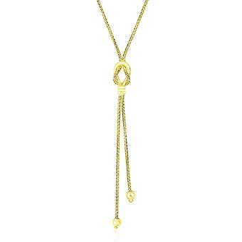 14k Yellow Gold Lariat Popcorn Necklace with Noose Design