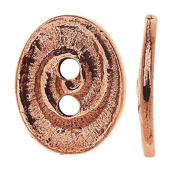 TierraCast Tin, Oval 2-hullers knap Swirl 13.5x17.5mm, 1 stykke, antik kobber