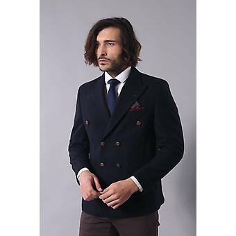 Mens double breasted navy blue slim fit blazer