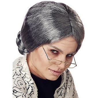 Grandma Granny Grandmum Old Mrs Santa Women Costume Wig