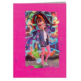 Sindy Wearing Floral Jacket Greeting Card