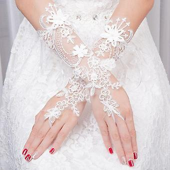 Femmes Mariage Fingerless Lace Faux Pearl Gants Floraux