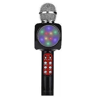 Black professional bluetooth wireless microphone handheld speaker karaoke music player az17793